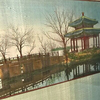 Antique 1930s Vintage Chinese Embroidery Tapestry in Original Frame