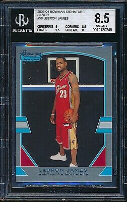 2003-04 Bowman Signature Silver LeBron James Rookie RC /249 BGS 8.5 NM-MT+