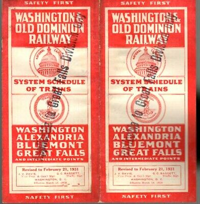 Washington & Old Dominion Railway  1931  W&Od