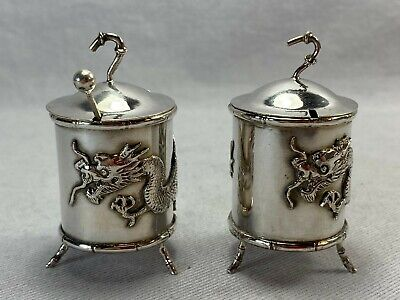 Pair 19c Chinese Export Gilt Silver Condiment Mustard Pots Containers w Dragons