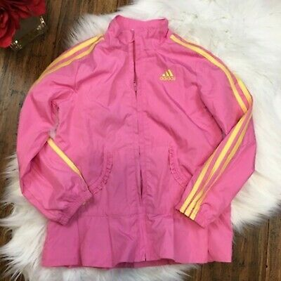 Adidas Girls Pink Full Zip Sporty Athletic Windbreaker Soft Shell Jacket Size 6