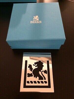 Authentic Birks Lion Silver Plated Bookmark with Box