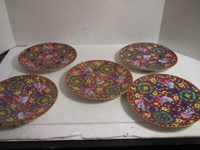 5 VINTAGE Chinese Cloisonne Marked Plates - L@@k!!