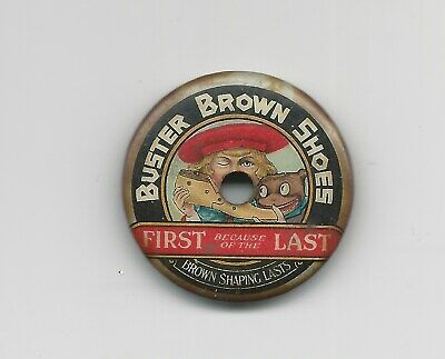 """Buster Brown Shoes Tin Color Whistle """"First Because of the Last"""""""