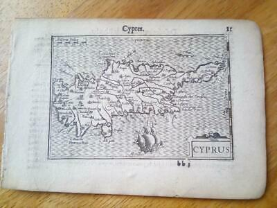 C1600'S Atlas Minor, Mercator Jodocus Hondius Series, Cyprus, Cypres