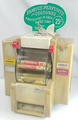 Vintage Coin Op PERFUME Dispenser Napkin holder keys Original vending machine