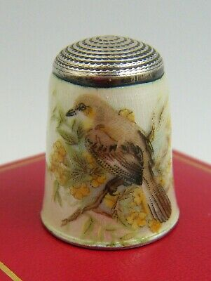 "Vintage Super Quality English Enamel Silver Fancy Thimble Of 'Song-Bird"" Design"