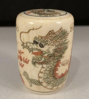 Fine Antique 19Th Century Chinese Snuff Bottle Jar Hand Engraved Dragon Lid!