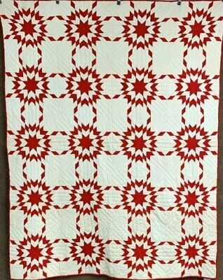 Star Spangled Americana! c 1890-1900 Turkey Red QUILT Blazing Antique