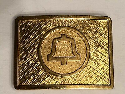 Gold Tone Bell Telephone Systems Logo Belt Buckle