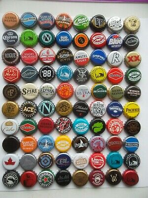 Nice Lot of 80 Different Used Beer Bottle Caps -  Microbrews Included Lot C