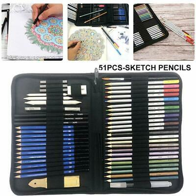 51pcs Professional Drawing Artist Kit Set Pencils &Sketch Charcoal Art Supplies