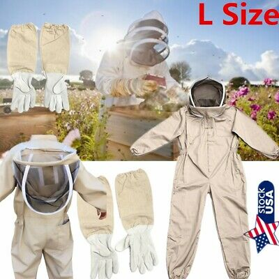 Professional Ventilated Full Body Beekeeping Bee Keeping Coverall Suit +Gloves L