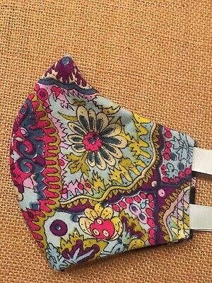 Handmade FACE MASK Tie Back REVERSIBLE Three Layer Cotton Paisley Floral OOAK
