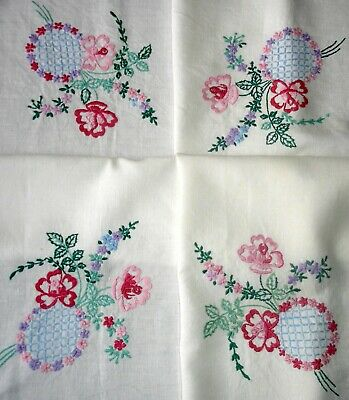 Vintage Hand Embroidered Tablecloth Exquisite Floral Posies On White Linen