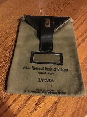 Vtg. First National Bank Of Oregon Portland Deposit Bag Leather Canvas Locking