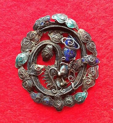 Antique Chinese Silver And Enamel Filigree Dragon Brooch / Pendant