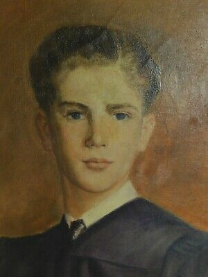 Irving Holtzman Painting Portrait Handsome Young Man Arts Crafts Picture Frame