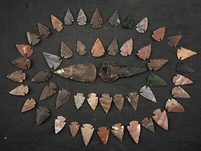"""50 PC Flint Arrowhead Ohio Collection Points 1-3"""" Spear Bow Stone Hunting 676"""