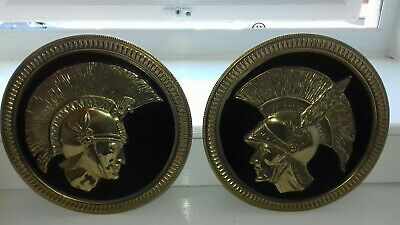 "Two 9 1/2"" inch Copper plates Embossed Spartans design, or similar. Black & Gold"