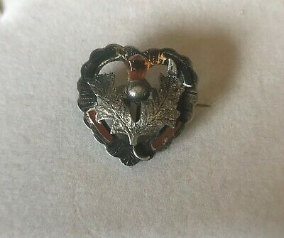 Antique Solid silver Thistle brooch set with cornelian bloodstone & citrine 1910