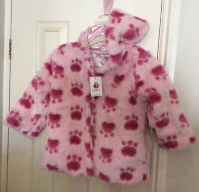 New Ladybird Girls Fur Coat With Hand Muff 3-4 Years