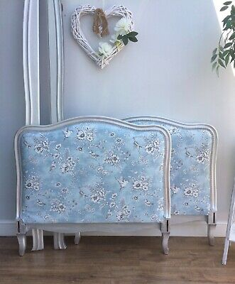Antique French Single Bed - Day Bed - New Fabric - Silver Finish - With Slats