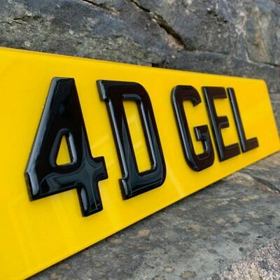 Pair Of Road Legal Front & Rear 4D 3D Double Laser Cut & Gel Top Number Plates
