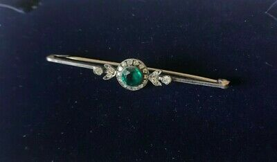 Antique Solid silver & green & white crystal brooch