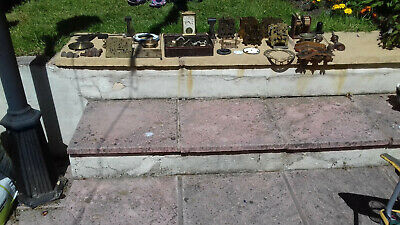 large collection of Old vintage clock parts dirty but in good usable condition