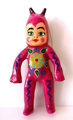 MEXICAN  Paper Mache Pink Baby Faced Devil Authentic Mexican Folk Art