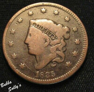 1835 Coronet Head Large Cent <> Strong Profile Doubling <> FINE