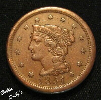 1851 Braided Hair Large Cent <> VERY FINE
