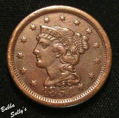 1854 Coronet Head Large Cent <> VF Details