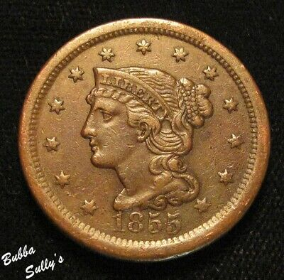 1855 Braided Hair Large Cent <> Upright 5's <> VERY FINE