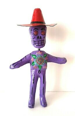 MEXICAN  Paper Mache Bobble head Purple Day of the Dead Skeleton Folk Art #01