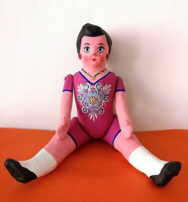 Authentic MEXICAN Folk Art Lupita Bordello Paper Mache Doll Pink Dress Large