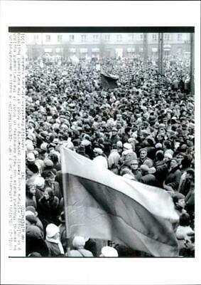 Demonstrators gather outside the parliament building in  - Vintage Photograph