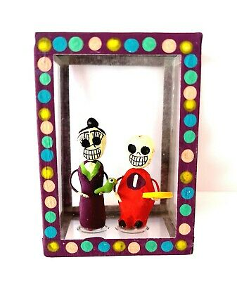 Mexican Folk Art Small Day of the Dead Diorama Box Frida Kahlo & Diego Rivera #2