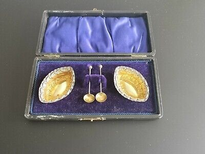 Edwardian Solid Silver Gilt Open Salts Matching Spoons William Davenport 1907