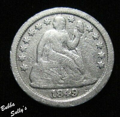 1849 Seated Liberty Dime <> VERY GOOD