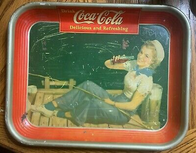 1940's Coca Cola Tray with Sailor Girl fishing on Dock Drinking Coke Vintage