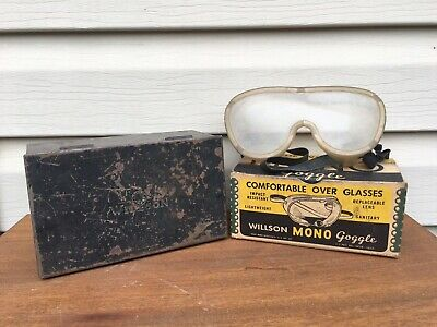 VINTAGE WILLSON GOGGLES METAL CASE and BOX FOR WELDING SAFETY Steampunk