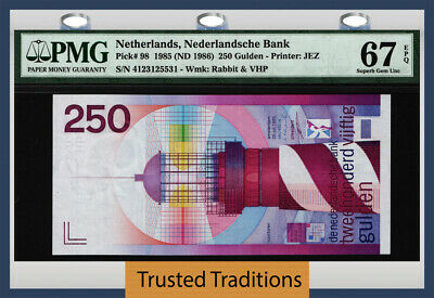 Tt Pk 98 1985 Netherlands 250 Gulden Pmg 67 Epq Monster Gem & Stunning Quality!