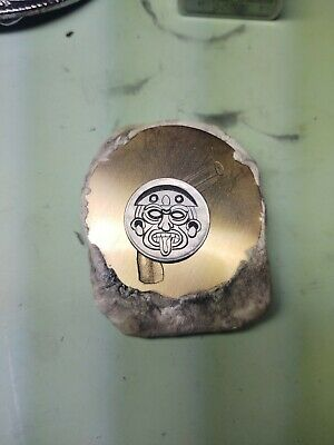 """Hand Engraved Hobo Coin """"Mayan Coin"""" signed."""