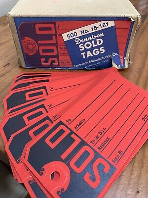 Vtg Dennison Price Tags Tickets Lot Of 15 — Gorgeous Red!