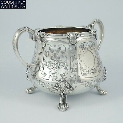 Beautiful Large Clean Heavy Victorian Sterling Silver Sugar Bowl - London 1851