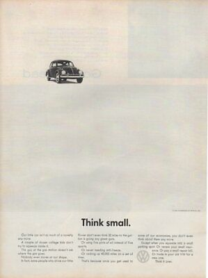 Vintage Print advertisement ad Car VW Volkswagen 1962 Bug Think Small Beetle car