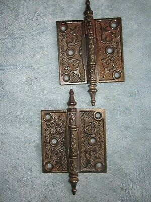 "2 Antique Vintage Victorian Cast Iron Steeple Tip 3 1/2"" Door Hinges"