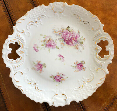 """Antique RS Prussia Pink Floral Rose w/ Gold Trim Embossed 10"""" Plate Unmarked"""